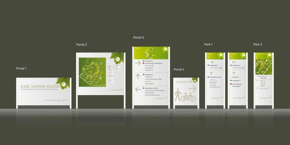 Leit- und Orientierungssystem für eine Klinik auf Basis des Corporate Designs.