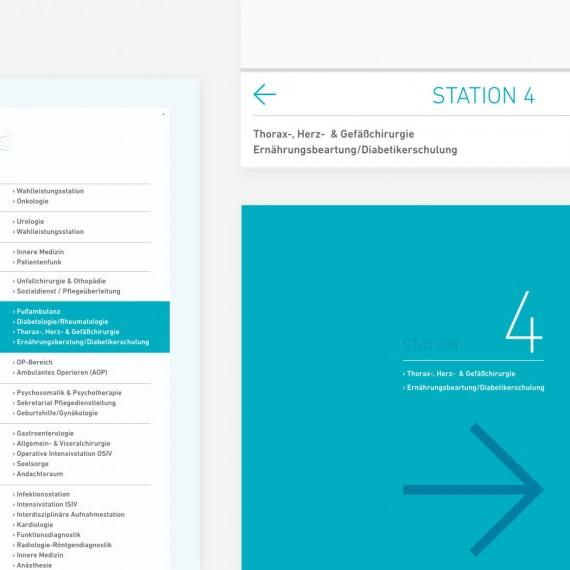 Design-Elemente aus dem Leitsystem für ein größeres Klinikum.
